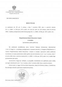 Zaświadczenie o nadaniu uprawnień szkoły publicznej dla NSM I st. w Leżajsku