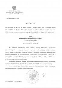 Zaświadczenie o nadaniu uprawnień szkoły publicznej dla NSM I st. w Sokołowie Małopolskim