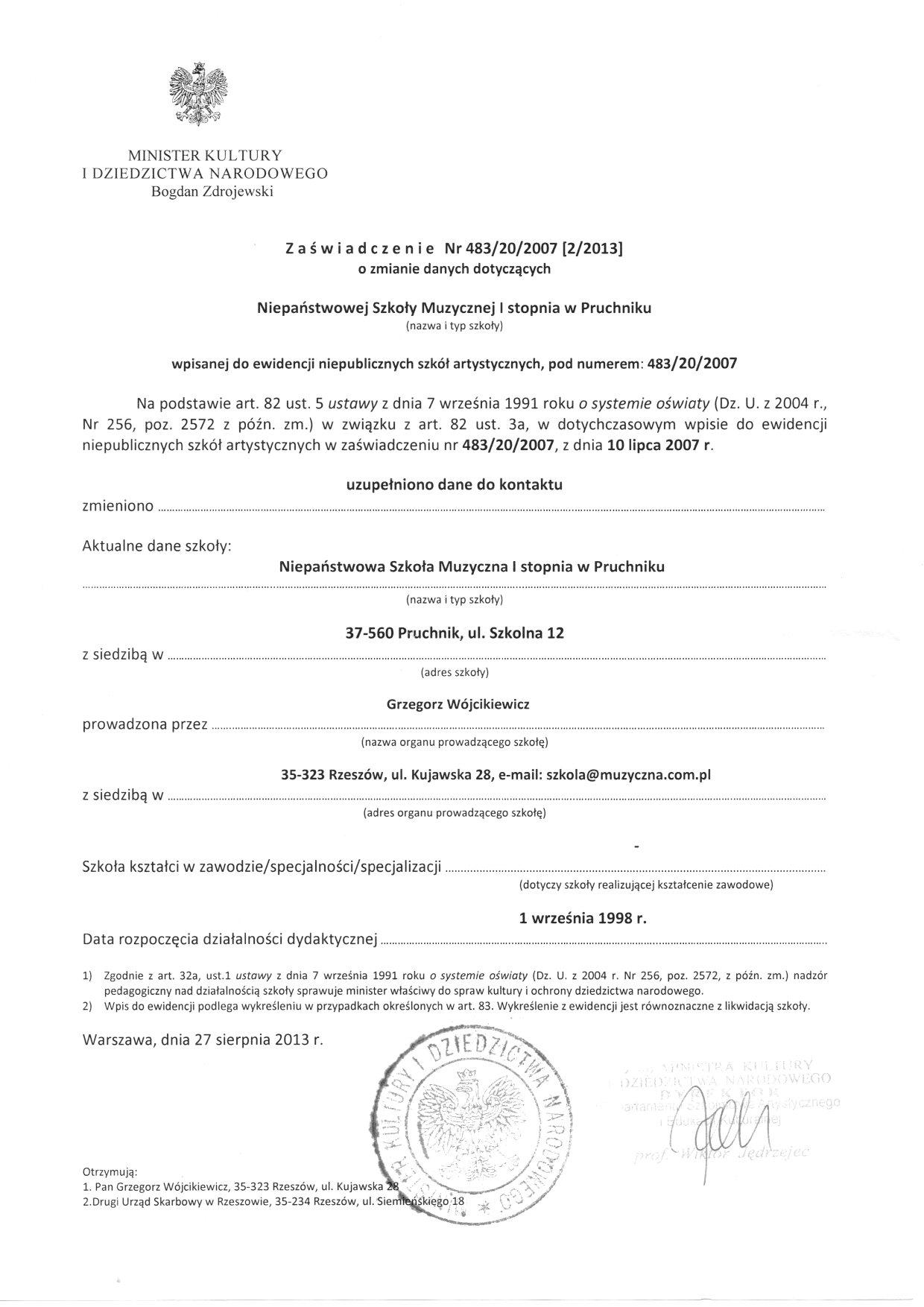 Zaświadczenie o wpisie do ewidencji szkół - NSM I st. w Pruchniku