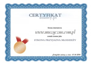 "Certyfikat portalu ""Zdamy.pl"""