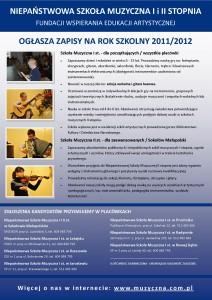Zapisy do szkoły muzycznej na rok szkolny 2011/2012