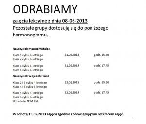 Terminy odrabianych zajęć z dnia 08-06-2013