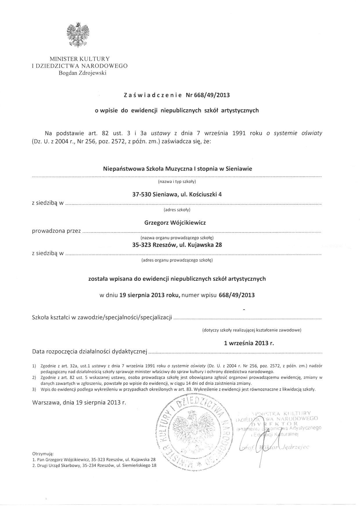 Zaświadczenie o wpisie do ewidencji szkół - NSM I st. w Sieniawie