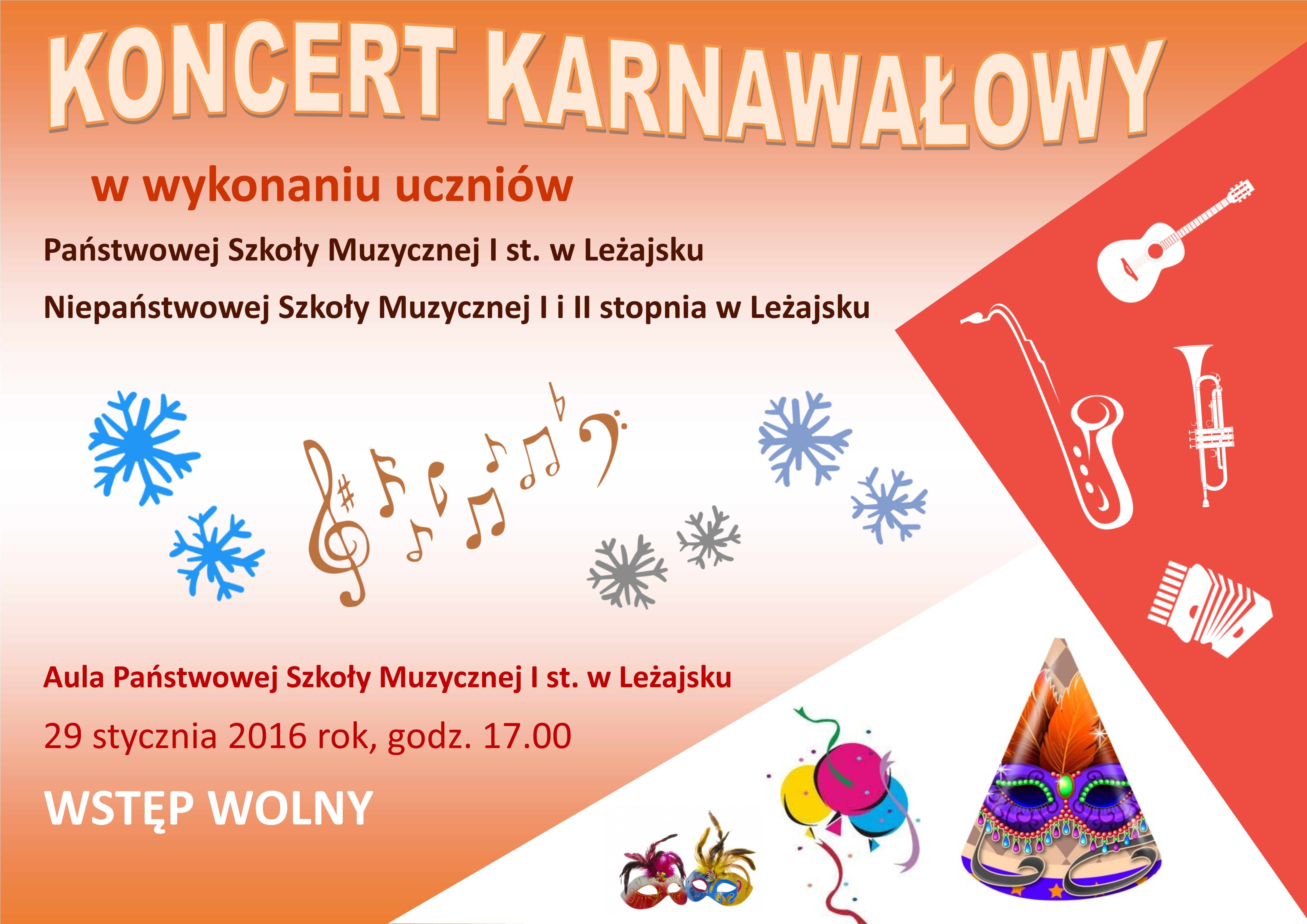 Zaproszenie na Koncert Karnawałowy w Leżajsku