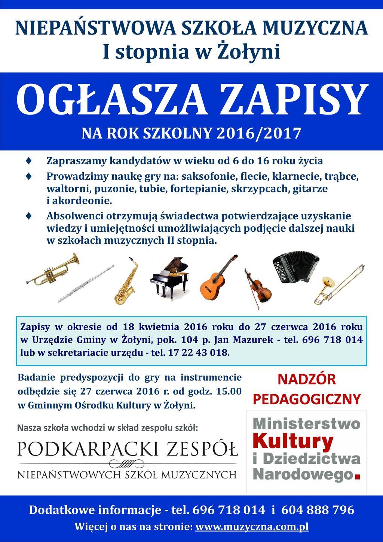 Plakat zapisy Żołynia NSM 2016