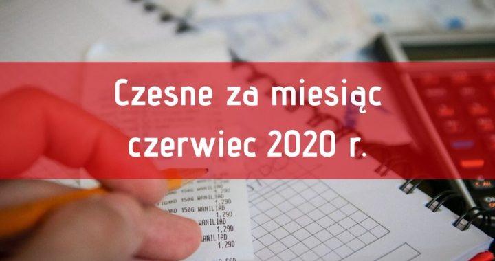 Odpłatność za naukę w miesiącu czerwcu 2020 r.